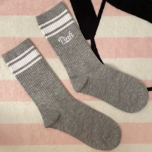 VS Pink Gray Marl White Logo Crew Socks